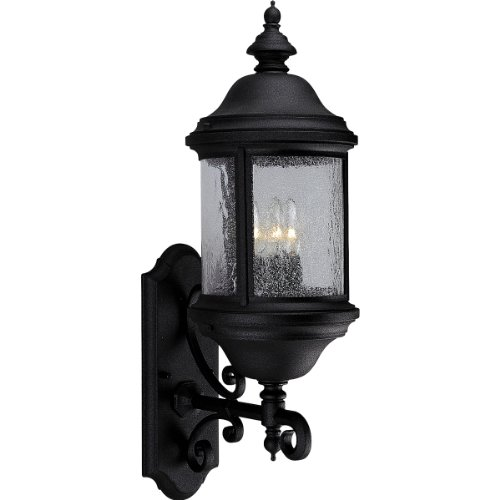 Progress Lighting P5652-31 3-Light Ashmore Cast Aluminum Wall Lantern, Textured Black
