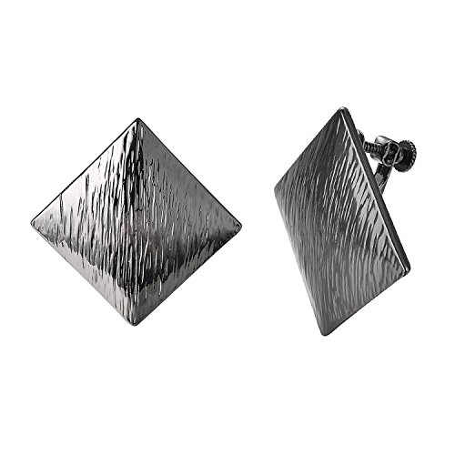 Yoursfs Screwback Earrings Adjustable 1980s Big Earrings Vintage Black Gold Plated Square Non Pierced Earrings