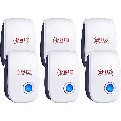 Ultrasonic Pest Repeller 6 Packs, Electronic Plug in Sonic Repellent pest Control for Bugs Insects Mice Spiders…