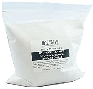 Hydrocal Plaster for Scenery, Dioramas, Dentistry and Mold Casting 5 lb Pack Resealable Bag Great for Model Railroads by Capital Ceramics