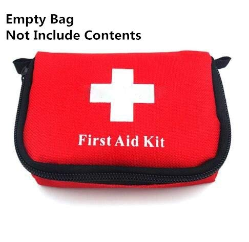 Jipemtra First Aid Bag Backpack, First Aid Backpack Empty Portable Outdoor Travel Small Rescue Bag Foldable Pouch Tote EVA Hard Case First Responder for Camping Sport (Red with ()