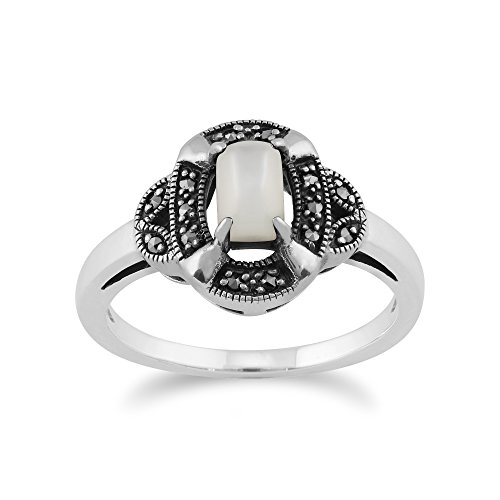Gemondo Art Deco Ring, 925 Sterling Silver 0.50ct Mother of Pearl & Marcasite Art Deco Ring