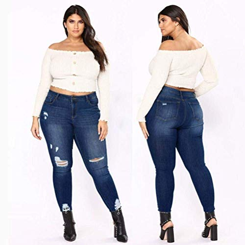 A Blue Donne Aibarle Scuro Sexy Xxl Alta Stretch blu Denim Size Dark Vita Jeans Skinny Ripped Plus Pantaloni TqwdxvrCq