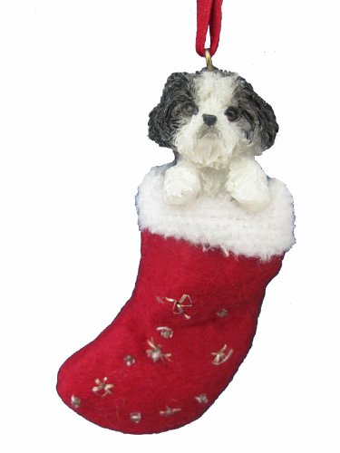 Shih Tzu Christmas Stocking Ornament with