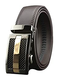 Mens Automatic Buckle Genuine Leather Waist Strap Belts (130CM, brown)