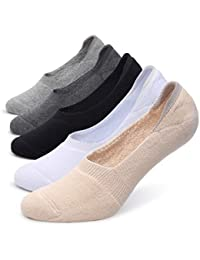 Women's Thick Cushion Cotton Athletics Casual Low Cut Flat Non-Slip Boat Liner No Show Socks-5/10 Pack