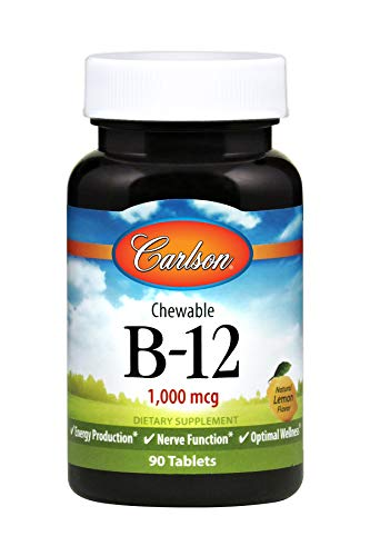 Carlson B-12 1,000 mcg, Cyanocobalamin, Lemon, 90 Tablets