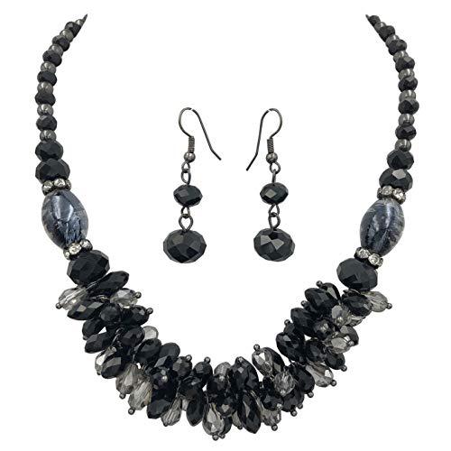 (Gypsy Jewels Glass Cluster Beads Silver Tone Statement Necklace & Dangle Earrings Set (Black & Grey Gun Metal))