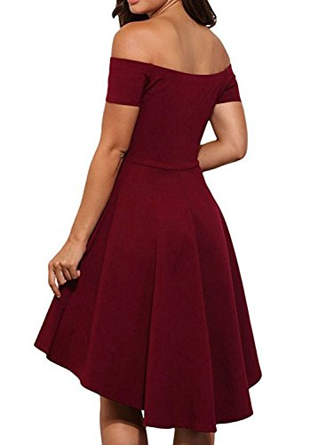Sleeve Skater Red Off Dress Flare Womens Low High Shoulder HUSKARY wv0tZqxzW