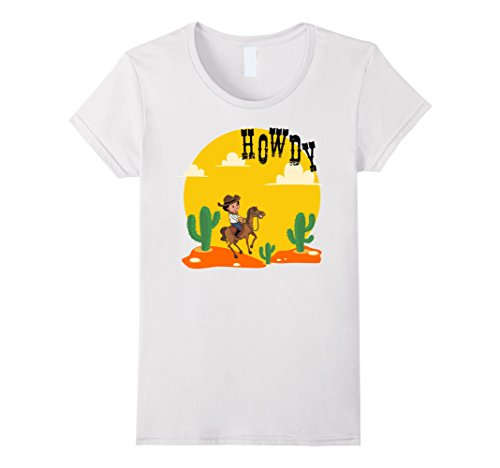 Womens Howdy Cowboy Rodeo Riding Lover Tshirt | Bull Rider Gifts Large White