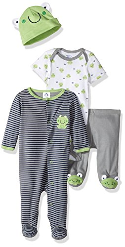 Gerber Baby Boy 4 Piece Sleep 'n Play, Onesies, Footed Pant and Cap Set, frog, 6-9 -