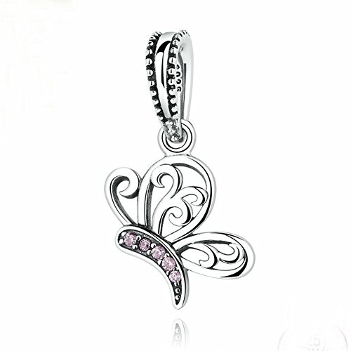 Butterfly 925 Sterling Silver Pink Charm Beads for Fashion Charms Bracelet & Necklace (Charm Pink Silver)