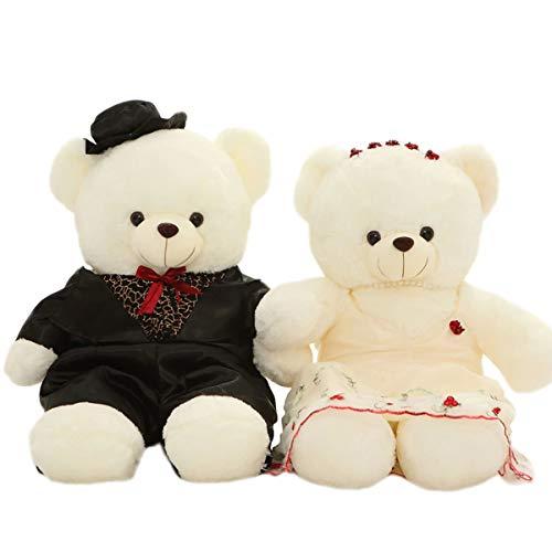11 Inch Couple Teddy Bear Groom & Bride Wedding Plush Toy Soft Stuffed Animal Doll Wedding Xmas Christmas Birthday Valentine ()