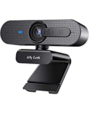 HD Webcam with Privacy Shutter, Jelly Comb 1080p Streaming Web Camera Autofocus, Computer Webcam with Microphone for Skype, Video Calling, Conferencing, Recording