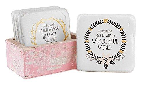 Woodland Holiday Sayings Coaster Set with Box Holder