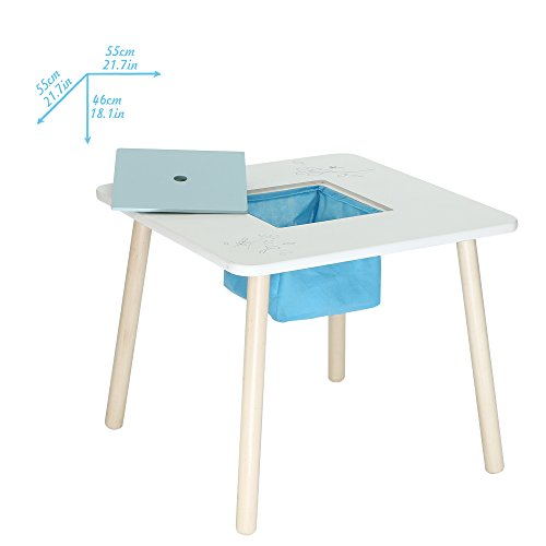 Labebe Wooden Activity Table Chair Set, Bird Printed White Toddler Table  With Bin For 1 5 ...