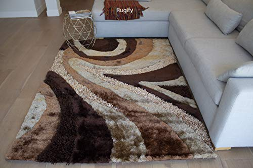 Beige Medium 10 Linen - 8'x10' Feet Brown Chocolate Beige Ivory Colors Shag Shaggy Area Rug Carpet Fluffy Fuzzy Furry Modern Contemporary Bedroom Living Room Decorative Designer 3D Carved Pattern - Signature New 70 Brown