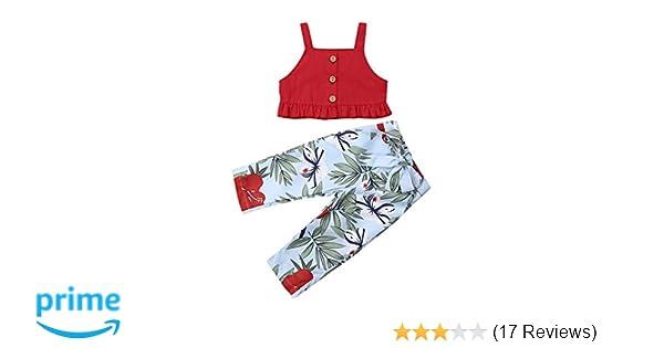 04d4a8f68dd8 Amazon.com  Toddler Baby Girls T-Shirt Crop Tops+Striped Long Pants ...