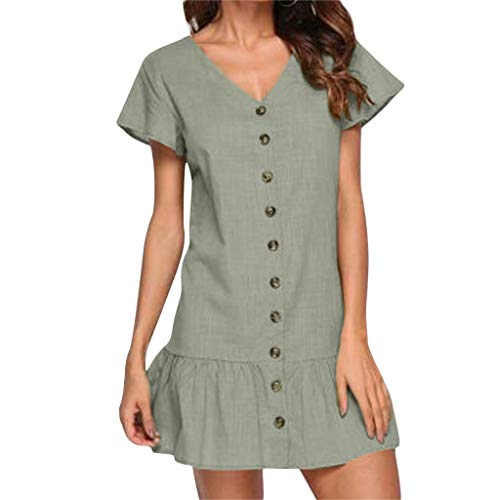 - Women's Dresses-Short Sleeve Sexy V Neck Button T Shirt Midi Skater Dress with Ruffle Hem Mini Dress Green