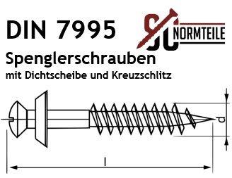10 St/ück Spenglerschrauben mit Dichtscheibe Kreuzschlitz PZ Antrieb - DIN 7995 SC7995 - 4,5x60 - aus rostfreiem Edelstahl A2 V2A POZI /Ø 20 mm