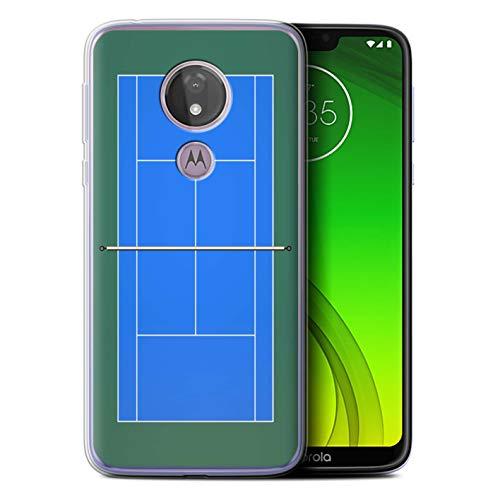 eSwish Gel TPU Phone Case/Cover for Motorola Moto G7 Power/Blue Hard Court Design/Tennis Courts Collection