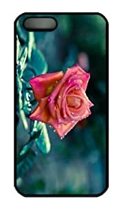 Case For Iphone 5C Cover CaCustomized Unique Design Pink Rose After Rain New Fashion PC Black Hard BY supermalls