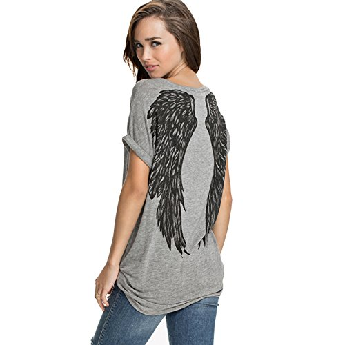 Womens Summer Fashion Angel Wing Loose Tops Short Sleeve T-Shirt Women Clothing(L,Gray)