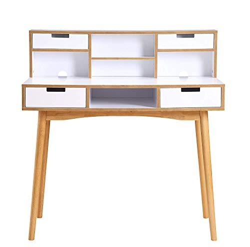 Convenience Concepts 203536W Oslo Desk with Hutch, White Light Oak