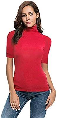 DATEWORK Womens Summer Short Sleeve Letter Turtleneck Tops Tee Shirt Top Blouse