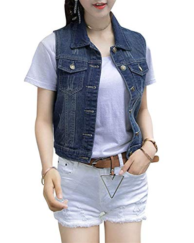 Sleeveless Gilet Cute Cappotto Primaverile Con Giacca Donna Chic Di Autunno Corto Jeans Giovane Fit Elegante Button Blau Festiva Tasche Grazioso Outerwear Moda Slim 6FPdqFw