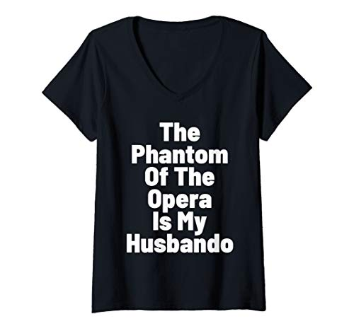 Womens Phantom Opera Husbando Geeky Goth Graphic Top V-Neck T-Shirt]()