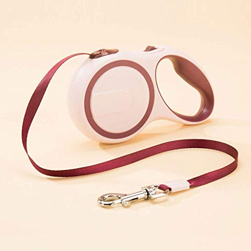 (Dog Automatic Telescopic Traction Rope Pet Dog Chain Small Dog Traction Rope Walking Outdoor Hook Pet Supplies 3M Firm Multi-Color Optional (Color : Red Wine))