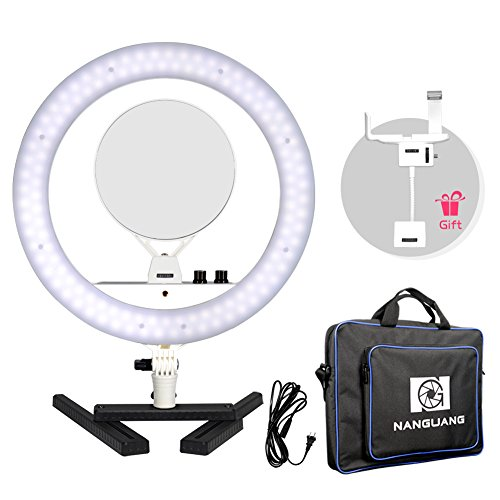 Nanguang Dimmable Ring Light 14'' LED Ring Light Bicolor Portable with Mirror Cellphone Holder Desk Stand for MakeUp,Portrait,Selfie,Youtube Video,Live Webcast,Still Life Photography by NanGuang