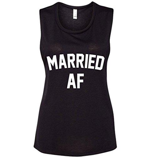 Married AF Black Honeymoon Bachelorette Wedding Muscle Tank Top- Lightweight(Medium) - Dash Tank