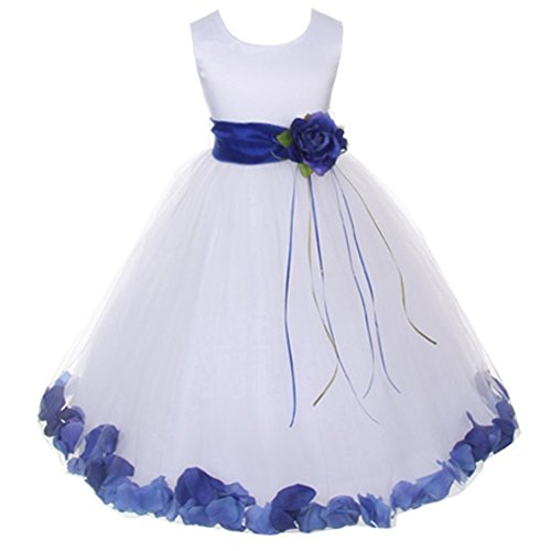 Big Girls White Sleeveless Satin Bodice Floating Flower Petals Girl Dress with Matching Organza Sash and Double Tulle Skirt - Royal Blue Set - Size 14
