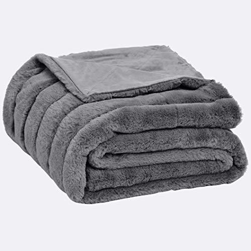 AmazonBasics Faux Fur Striped Throw Blanket - 63 x 87 Inch, Grey (Grey Fur Faux Throw)