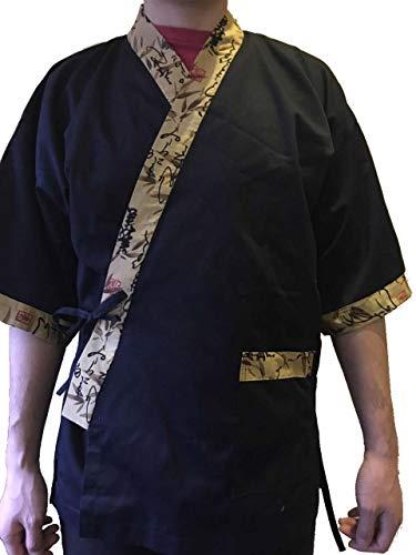 Tonrier Osaka Tokyo Chef Coat Jacket Kimono Sushi Restaurant Bar Japanese Clothes Uniform 5 Size Unisex (XL)