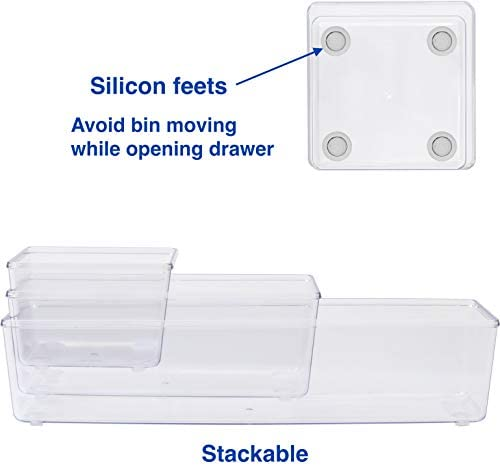 6 Pack – Simple Houseware Clear Plastic Desk Drawer Organizers 41rYKRz1pVL