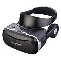 VR Headset, Hizek 3D Virtual Reality Google Cardboard Upgraded Version Movies Games Helme with Earphone for iPhone 7/6sPlus/iPhone6Plus,Samsung Galaxy S7/Galaxy S7 Edge,HUAWEI,Xiaomi from Hizek