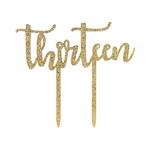 Gold Glitter Thirteen Cake Topper,Happy 13th Birthday,Number 13 Wedding Anniversary Party Decoration Supplies(Acrylic)