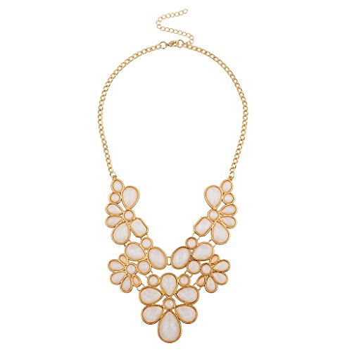 Lux Accessories Ivory Floral Statement N necklace (Womens Ivory Necklace)