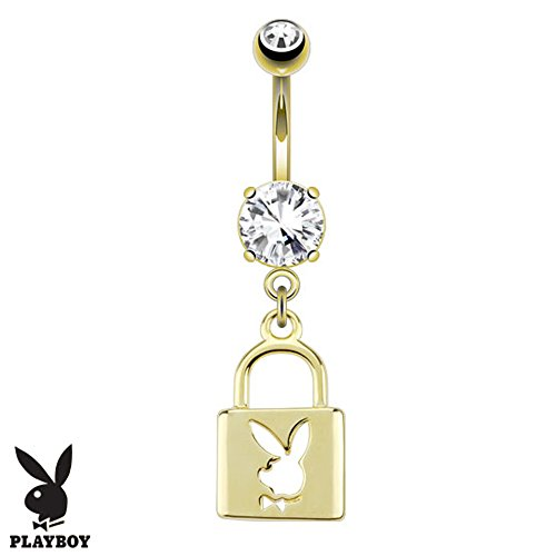 Jinique SBJ-0074 Officially Licensed Playboy Lock Die-Cut Dangle 14k Gold Plated Navel Ring