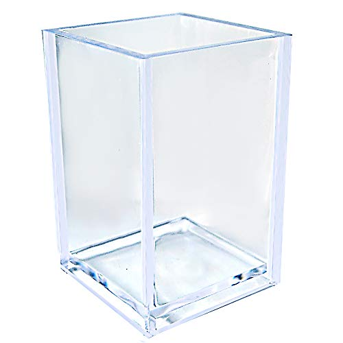 Acrylic Pencil and Pen Holder Makeup Brush Organizer Acrylic Pen Pencil Holder Square Pen Holder (Clear Color) (Acrylic Cup Holder)