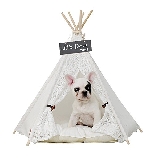 - little dove Pet Teepee Dog(Puppy) & Cat Bed - Portable Pet Tents & Houses for Dog(Puppy) & Cat Lace Style 24 Inch with Thick Cushion