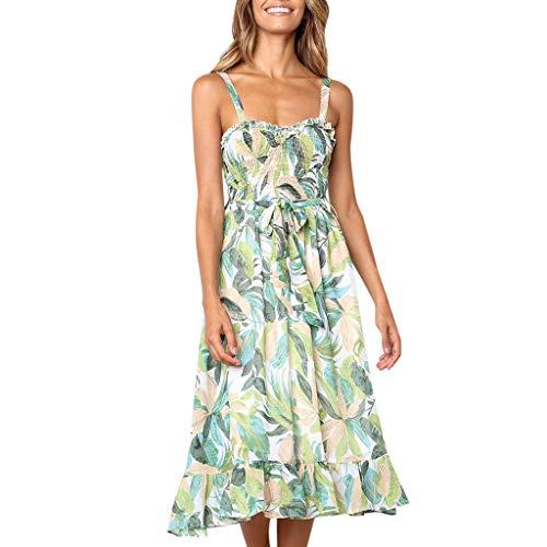 Womens Floral Leaf Printed Off Shouder Sleeveless Dress Sling Summer Beach Lace Up Long Dress & ANJUNIE(Green,XL)