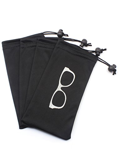 (4 PCS) Drawstring Microfiber Soft Eyeglasses Pouch With Bead Lock - Sunglass Pouch