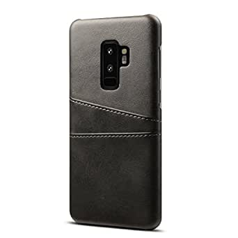 Ruida -au Galaxy S9 Plus Case Ultra Slim Synthetic PU Leather Back Cover with 2 Card Slots Wallet Phone Case (Samsung Galaxy S9 Plus, Black)