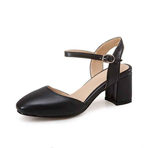 QIN&X Bloque de Mujer Tacones Peep Toe Sandalias Al Tobillo. Black