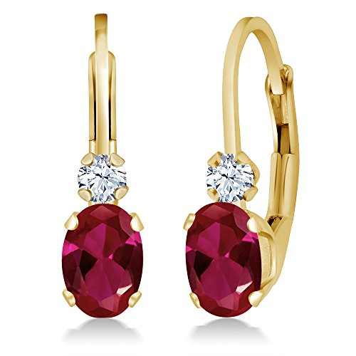 1.44 Ct Oval Red Created Ruby White Created Sapphire 14K Yellow Gold Earrings by Gem Stone King
