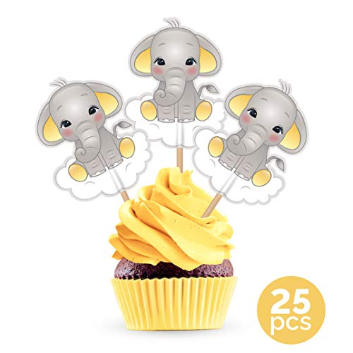 Yellow Elephant Cupcake Cake Toppers - Gender Neutral Baby Shower Birthday Party Decorations Supplies - 25 Pieces ()